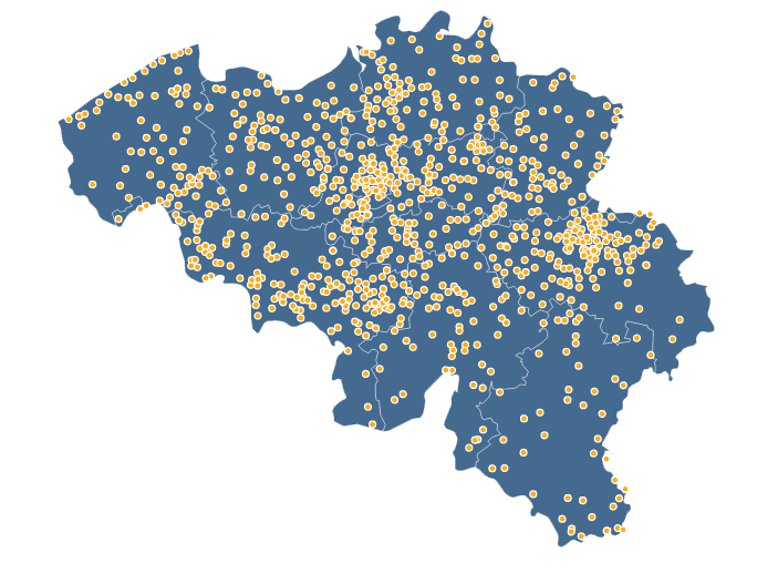 Map of Intervention in Belgium